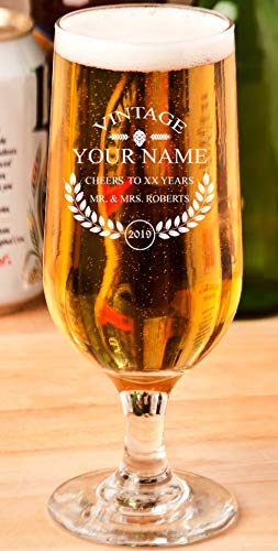 Personalized Beer Glass - Custom Engraved Beer Mug, Pint Glass, Pilsner Glass, Pitcher. | Add your own Engraved Text - Vintage Design (Beer Glass 12oz)