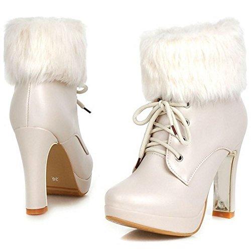 Up Coolcept Boots Women Lace Beige Heels rzqgpzwI