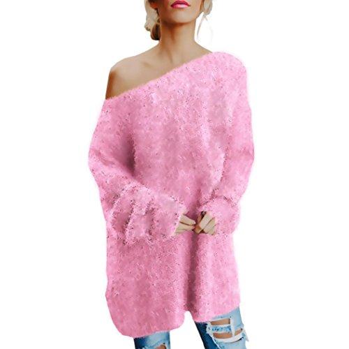 Women Long Sleeve Sexy Off Shoulder Sweater,Faux Fur Blouse Top Dress Lady (L, Pink) ()