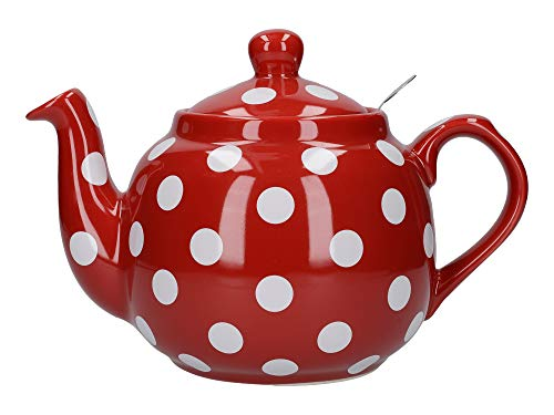 London Pottery Farmhouse Polka Dot Teapot with Infuser, Ceramic, Red / White, 4 Cup (1.2 Litre)