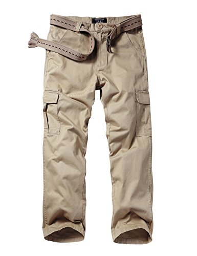 Match Men's Loose-Fit Straight Stretch Twill Cargo Pants (32, 6039 Light khaki) (Cargo Loose Straight Pant)