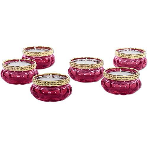 Koyal Wholesale Bloom Tea Light Holders, 6-Pack Petite Glass Tealight Cup, Pink Mercury Gold Rim Vintage, Boho Wedding Tealight Cup
