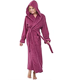 Womens Turkish Terry Cloth Robe, Long Cotton Hooded Bathrobe