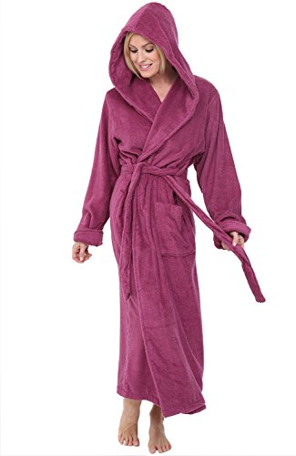 Alexander Del Rossa Womens Turkish Terry Cloth Robe, Long Cotton Hooded Bathrobe, 3XL 4XL Violet Red ()