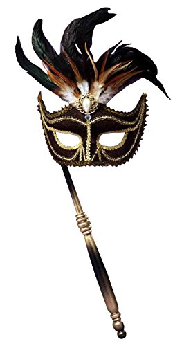 Forum Novelties Women's Feather Masquerade Mask with Holding Stick, Black/Gold, One (Stick On Masquerade Masks)