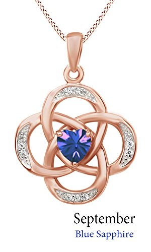 Blue Sapphire Estate Necklace (Celtic Knot Simulated Sapphire Pendant Necklace in 14k Rose Gold Over Sterling Silver W/Chain 18