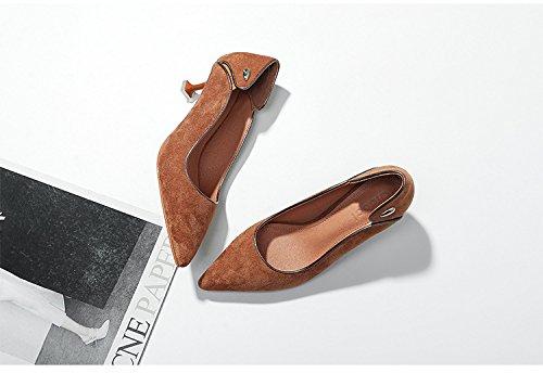 Los zapatos High-Heel _ salvajes con punta fina de terciopelo, con los singles femeninos zapatos, un par de caqui 36