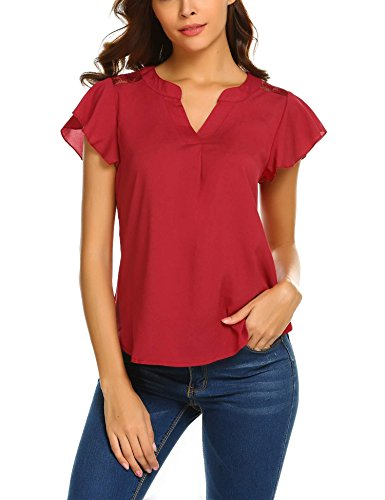 (Womens Collar Lace Shirts Flutter Sleeve Tops Ruffle Sleeveless Blouses Wine Red)