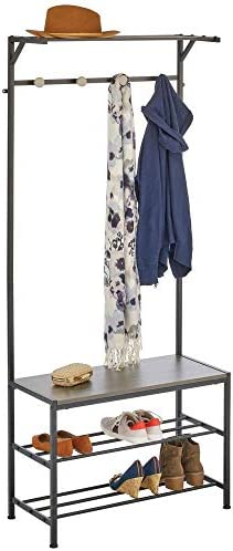 mDesign Coat Rack and Bench Organizer System Storage Unit, 4 Hooks Holds Jackets, Scarves, Purses, Hats, Leashes, Shoes, Boots for Bedroom, Hallway, Entryway 2-Tier Storage Bench- Black Gray Wood Wash