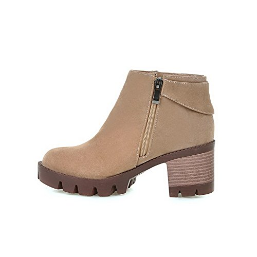Heels Toe high Solid Imitated Apricot Kitten Boots Ankle Closed AgooLar Women's Round Suede twpnR0