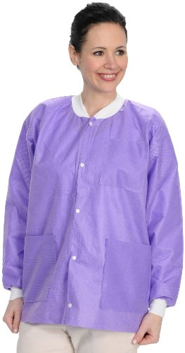 (ValuMax 3530PPL Easy Breathe Cool and Strong, No-Wrinkle, Professional Disposable SMS Hip Length Jacket, Purple, L, Pack of 10)