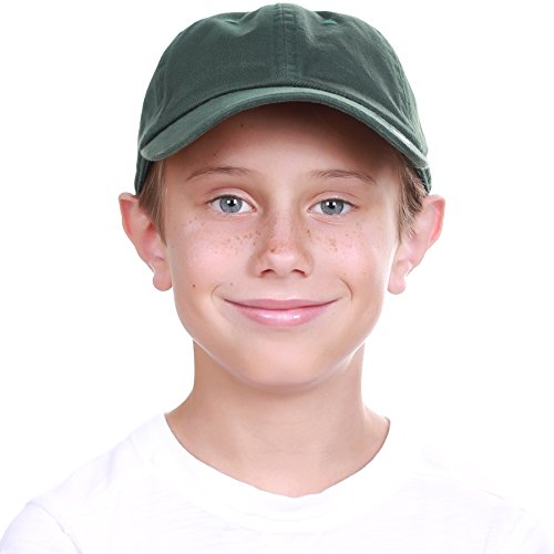 KBC-13LOW HGN (6-9) Kids Boys Girls Hats Washed Low Profile Cotton and Denim Plain Baseball Cap Hat Unisex (Great Plains Hunter)