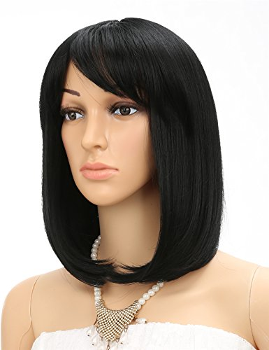 Fani Short Bob Wigs for Women Black Yaki Straight Synthetic Wigs Side Bangs Wig Party Wigs With Free Wig Cap (1B)