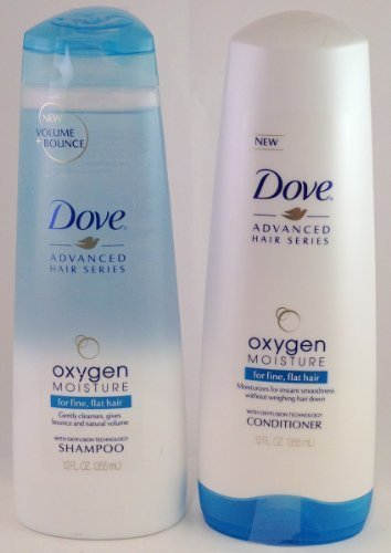 Dove Advanced Hair Care Series Oxygen Moisture Shampoo & Conditioner Set, 12 Fl Oz Each, for Fine, Flat Hair