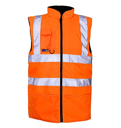 My Choice Stuff Men Hi Viz Sleeveless Reversible Fleece Jacket High Visibility Zip Up Body Warmer Orange X-Large