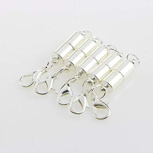 Laliva Rainbery 5pcs/Lot Oval-Shaped Metal Magnet Clasp and Lobster Clasp Gold-Plated Necklace Bracelet Link Accessories Button JBC0079 - (Color: Silver) ()