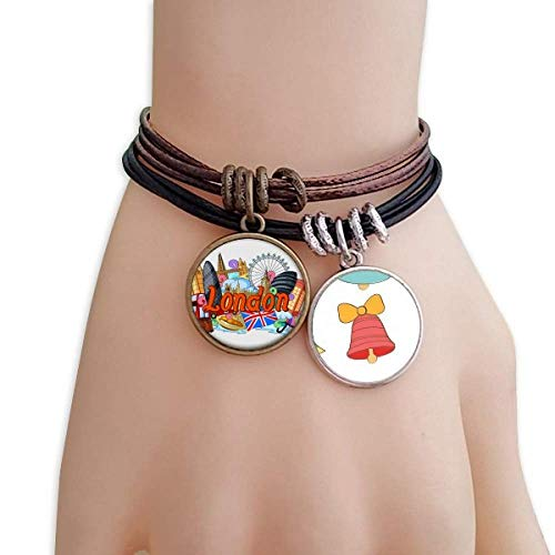 DIYthinker London Eye Buckingham Palace England Christmas Jingling Bell Rope Bracelet