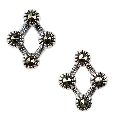 NOVICA Marcasite .925 Sterling Silver Button Earrings 'Points of (Novica Marcasite Earrings)