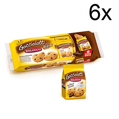 6X Balocco Gocciolotti Biscuits with Chocolate Drops (8 Mini envelopes 30g) Biscuits