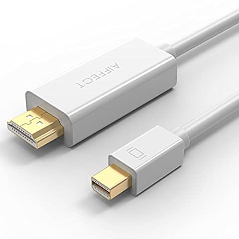 AIFFECT Mini DP to HDMI, 6Ft Gold Plated Mini DisplayPort (Thunderbolt Port Compatible) to HDMI HDTV AV Cable for MacBook, LG, Dell, HP, Laptop - (Thunderbolt Splitter Cable)