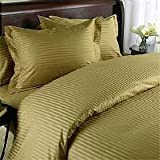 Egyptian Bedding 1500 Thread Count Egyptian Cotton 1500TC Sheet Set, Full, Brown Stripe 1500 TC