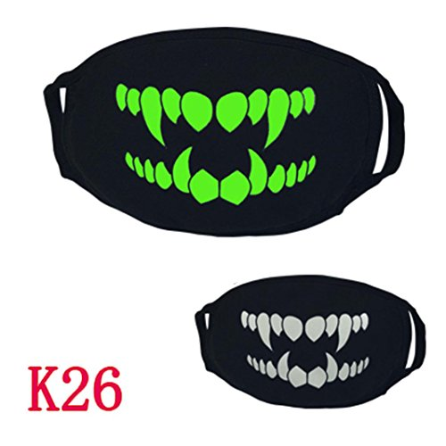 Yuxing 26 Styles Halloween Glow in the Dark Luminous Ghost Skull Half Face Mouth Mask (W) (Tooth Related Halloween Costumes)
