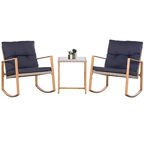 SUNCROWN Outdoor Rocking Chair 3-Piece Patio Bistro Set: Grey Wicker Patio Furniture with Wood-Grain Arm Rest - Two Chairs with Glass Coffee Table (Nautical Navy Cushion) (Outdoor Rocking Couch)