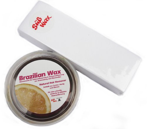 400g Süß Wax Brazilian Wax zur Enthaarung mit Vlies 100% Natürlich. Warmwachs aus Zucker, Honig und Zitrone. Bikini Wax Zuckerpaste + 100 Vliesstreifen
