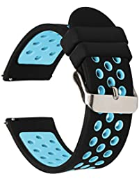 Universal 18mm 20mm 22mm 24mm Width Silicone Watch Band Replacement, Choose Size and Color (20mm, Black-Blue)