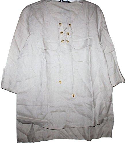 Ellen Tracy Company Women S Beige 100 Linen Tunic Top W