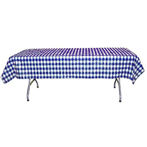 Exquisite 40 Inch. x 100 Ft. Gingham Plastic Tablecloth Roll, Checkerboard Design Disposable Table cover Roll (Blue Gingham )