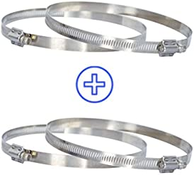 """10 inch Duct Clamps for 10"""" HVAC Air Ducting, Hoses, & Fans - (4 Pack) Stainless Steel Clamps by Happy Hydro"""