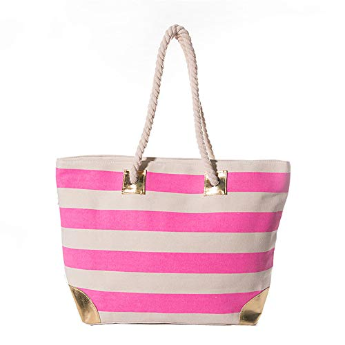 (Women Large Beach Bag Canvas Striped Tote Bag With Metallic Gold Accents)