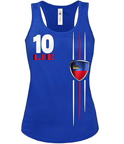 Copa del Mundo de fútbol - Campeonato de Europa de Fútbol - LIECHTENSTEIN FANmujer camiseta Tamaño S to XXL varios colores S-XL Azul