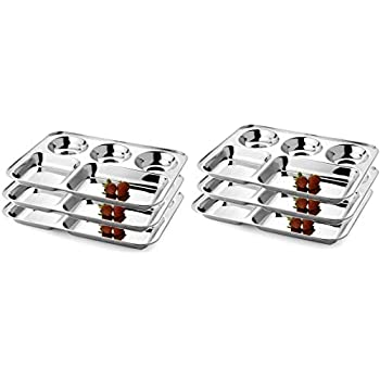 IndiaBigShop Stainless Steel Five Compartment Round Plate, Thali, Mess Tray, Dinner Plate Set of 6 pcs