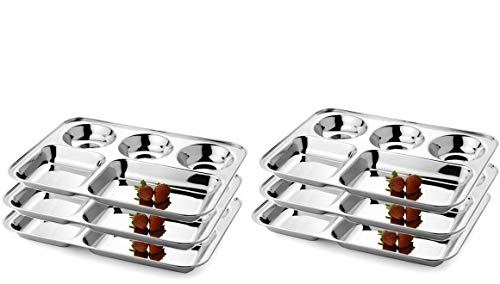 IndiaBigShop Stainless Steel Five Compartment Round Plate, Thali, Mess Tray, Dinner Plate Set of 6 pcs ()