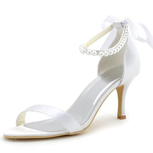 ElegantPark EP11053 Mujer Open Toe El Tacón Alto Sandalias Cintas Tie Perlas Satén Novia Fiesta Zapatos de Boda Blanco
