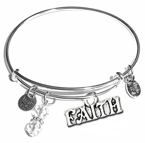 Hidden Hollow Beads Message Charm (Choose Message) Expandable Wire Bangle Bracelet, in The Popular Style (Faith) ()