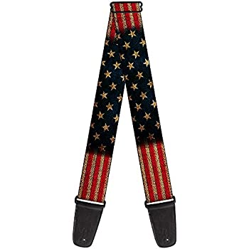 buckle down 2 inches wide guitar strap vintage us flag stretch gs w32210. Black Bedroom Furniture Sets. Home Design Ideas