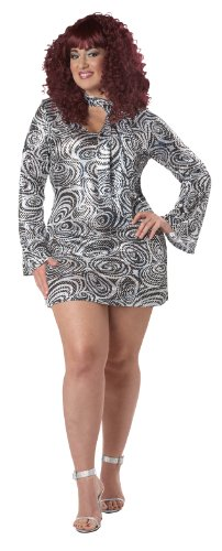 (California Costumes Women's Plus-Size Disco Diva Plus, Silver, 3X)