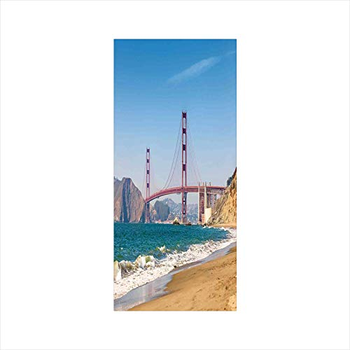 Decorative Window Film,No Glue Frosted Privacy Film,Stained Glass Door Film,Panoramic View of Golden Gate Bridge San Francisco Coastline Nature Seascape,for Home & Office,23.6In. by 47.2In Blue Turquo