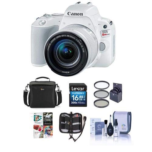 Canon EOS Rebel SL2 DSLR with EF-S 18-55mm f/4-5.6 IS STM Lens – White Bundle with 16 GB SDHC Card, Camera Case, 58mm Filter Kit, Cleaning Kit, Memory Wallet, Software Package