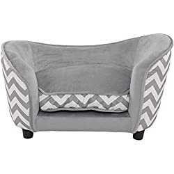 Pet Sofa Ultra Plush Snuggle Soft Warm Dog Puppy Sleeping Bed w/Cushion Gray