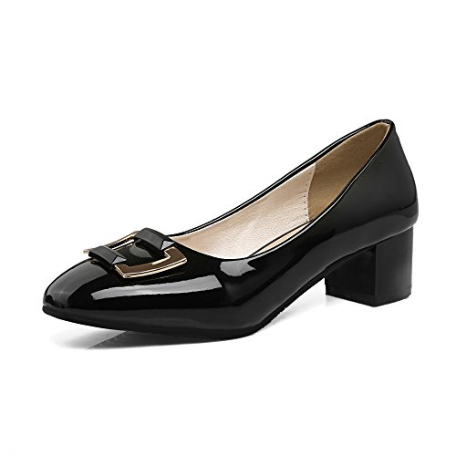 JIEEME Ladies Fashion Block heel Black Pink Mental decoration women pumps Sexy Square toe Causal Women court shoes (UK 10, black)