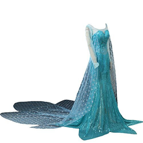 Angelaicos Women's Princess Floral Dress Cosplay Party Costume (M) Blue -