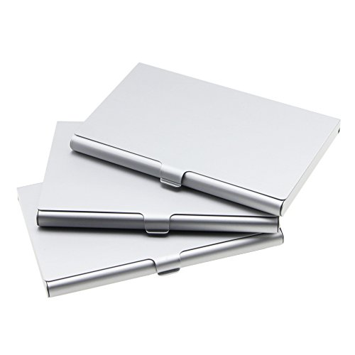 homEdge Super Light Aluminum Business Card Holder, Slim Professional 3 Packs Card Case for Traveling and Business – Silver