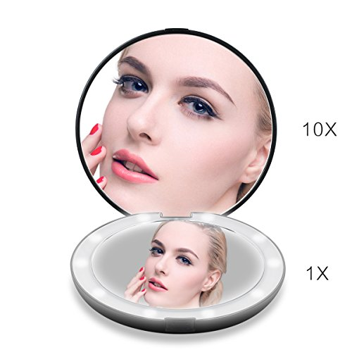 Lighted Travel Makeup Mirror, 1x/10x Magnifying Mirror, Handheld Folding Compact Mirror with LED Lights for Cosmetic, Camping, Personal Use and Travel