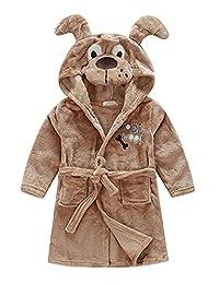 Little Boys Girls Bathrobes,Toddler Kids Cartoon Hooded Plush Robe,Animal Pajamas Fleece Bathrobe for Kids