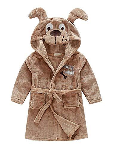 Little Boys Girls Bathrobes,Toddler Kids Cartoon Hooded Plush Robe,Animal Pajamas Fleece Bathrobe for Kids (6T, Dog)