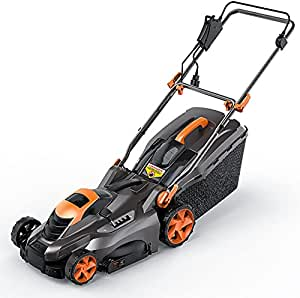 Electric Lawn Mower 13A, 16 Inch, 5 Mower Heights, Adjustable & Foldable Handlebars, Low Noise, Tool-Free Assembly, 50L Grass Box-KALM1540A